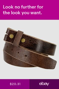 Genuine One Piece Buffalo Leather Mens Belt Strap Vintage Style made in USA