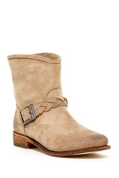 Braid Strap Short Leather Boot