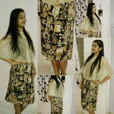 Traditional print# kalamkari # wrap around skirt with poncho