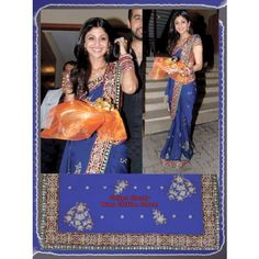 Shilpa Shetty Blue Bolly wood sarees