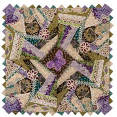 Maybe something like this all in creams whites and ecrus.  For a pillow   crazy quilt super embellished