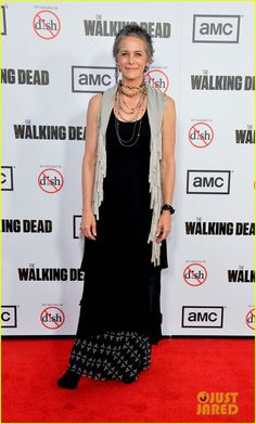 Everyone loves Carol this season but I've always loved her from season 1.  People, she was an abused wife whose (spoiler alert!) daughter disappeared then became a zombie.  Carol rocks!  Melissa McBride (Carol) at the 'Walking Dead' Season 3 Premiere, 2012