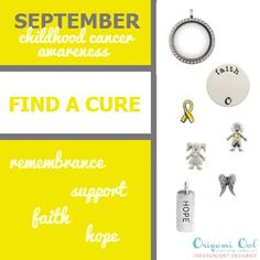 September Childhood Cancer Awareness Origami Owl Locket! Show your support!