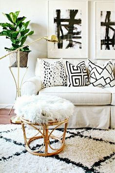 bold patterns in white living room