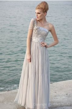 Chiffon/Elastic One-Shoulder Silver Satin Sheath Backless Natural Silk-like Floor-length Sweep-Train Sleeveless Beading/Crystals/Draped/Ruffles Evening Dress