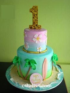 Beach birthday cake - but could be made into a tropicana wedding cake Hawaiin Cake, Hawaiian Theme Cakes, Beach Themed Cakes, Beach Cakes, Luau Birthday Cakes, Luau Cakes, Birthday Cake Girls, Party Cakes, Hawaiian Birthday