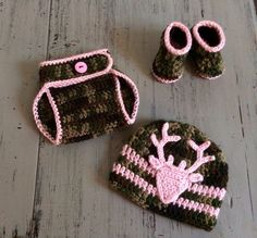 Newborn Baby Girl Crochet Camo hat, diaper cover and booties, Crochet Camo Set, Camoflauge, Photo Prop, Hunting outfit, Deer Hat, Camo Pink by SweetTandHoneyBees on Etsy