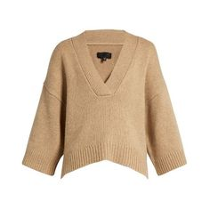 Nili Lotan Logan V-neck cashmere-blend sweater (€995) ❤ liked on Polyvore featuring tops, sweaters, beige, v neck sweater, beige sweater, chunky knit sweater, low v neck sweater and thick knit sweater