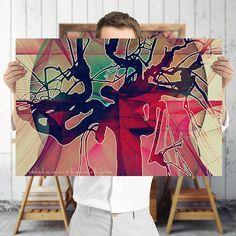 Psychedelische Abstract Red Tree afdrukbare Art door TreeomStudio