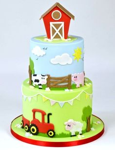 Cute Farm Yard Cake Tutorial brought to you by FMM Sugarcraft. The latest cutter. Cute Farm Yard C Farm Birthday Cakes, Animal Birthday Cakes, Farm Animal Birthday, 2nd Birthday, Farm Yard Birthday Party, Birthday Cupcakes, Birthday Ideas, Barnyard Cake, Farm Cake