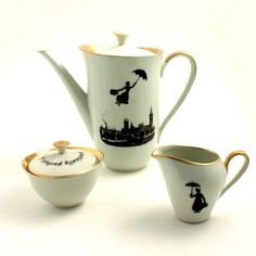 Redesigned  Mary Poppins Teapot Coffeepot Set  Nanny Tea Coffee Porcelain Vintage Musical Film Big Ben London England White Brown Romantic