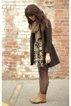 Camel-vintage-boots-black-floral-dress-army-green-vintage-coat-brown-scarf_400