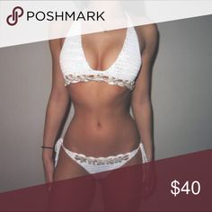 White Crochet Seashell Bikini Final 1 left in stock from my shop VIIIX Luxury Boutique. Comes new with tags. One size fits most. Adjustable. No padding. Normal coverage bottom. Durable crochet holds up well in water. 💦🔥 Swim Bikinis