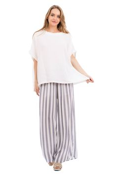 Love In Wide Leg Striped Pants with Pockets Navy/White M ** Learn more at the photo web link. (This is an affiliate link). Striped Pants, Dress Pants, Navy And White, Wide Leg, Pockets, Legs, Skirts, Dresses, Women
