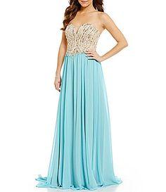 Glamour by Terani Couture Strapless BeadedBodice Sweetheart Neck Dress #Dillards AQUA