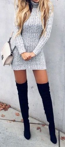 What a cute idea for fall/ winter. Over the knee boots with cute knitted mini dress