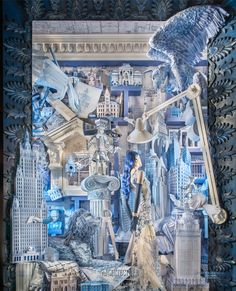 """Bergdorf Goodman: The Arts, Architecture - 2014   Three-dimensional sculptures made out of paper are front and center in Bergdorf Goodman's """"Architecture"""" window. The blueprint designs use layering, scale, and perspective to create a visual masterpiece. (Crappy Ad filled slide-show on site, btw - but pics are great)"""