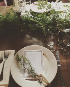 Table setting: ferns!
