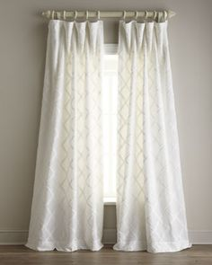 """Amity Home """"Lattice"""" Curtains - Neiman Marcus   I like the idea of center tied sheers with some pizazz"""