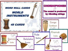 48 World Instruments Cards to laminate and use to create a world music wall!!  ♫ CLICK through to preview or save for later!  ♫