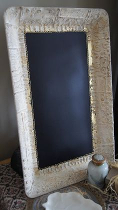 ZeeZee Chalkboards * Classy Custom Chalkboards for Home and Business. Lace and gold leaf tray chalkboard