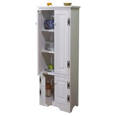 Extra tall pine wood cabinet with four doors and adjustable interior shelves.   Product: CabinetConstruction Materi...