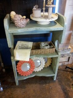 Light green side shelf/nightstand $90