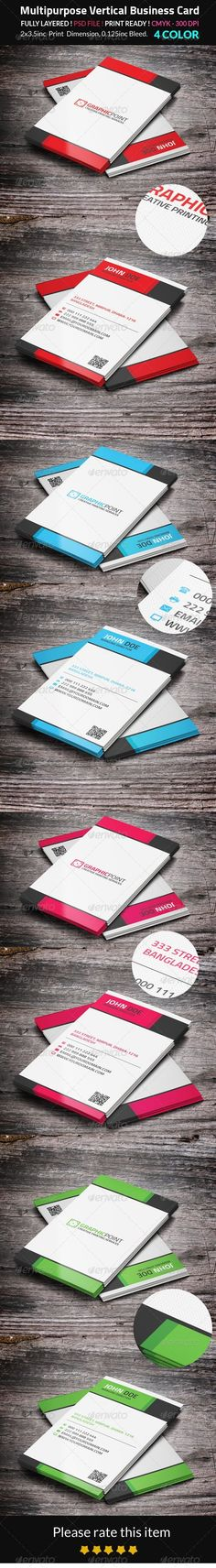 Buy Multipurpose Vertical Business Card by mehedi_hasan on GraphicRiver. PSD files included (Front and Back). inc Print dimension. Vertical Business Cards, Cool Business Cards, Business Card Design, Corporate Business, Print Templates, Card Templates, Print Design, Graphic Design, Name Cards