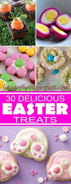 The Ultimate Pinterest Party, Week 141 | An awesome list of 30 sweet Easter foods to make. Dessert, appetizer, and inspiration recipes. Some require cooking, others just chopping! Featuring bunnies (bunny), eggs, carrots, peeps, chicks, spring nests, and an assortment of other cute holiday tasty treats.