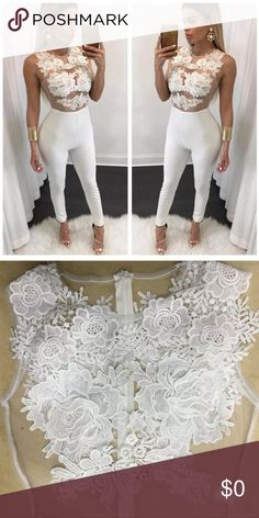 🔜 Coming Soon! Lace Bodycon Jumpsuit Outfit Spring/Summer Sneak Peak - If you would like this item asap please leave a comment below and I will get back to you on availability.  Lace applique mesh top Back zipper,Cuve-hugging fit,Stretchy Pants Jumpsuits & Rompers