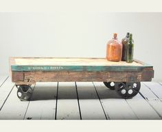 Mary Rose Upcycled Coffee Table Cart on Medium Wheels