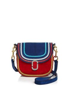 In shimmering metallics and bright shades, woven trim pops against rich suede on this colorful, must-have shoulder bag by Marc Jacobs. | Suede | Imported | Detachable adjustable shoulder strap | Pushl