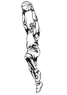 A colorier, un grand joueur de Basketball faisant un dunk