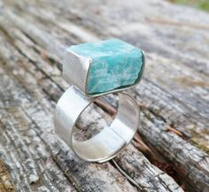 Rough Amazonite Ring Handmade Ring. Oxidized Sterling by Unics