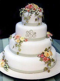 Sweet looking cake with monogram Elegant Wedding Cakes, Beautiful Wedding Cakes, Gorgeous Cakes, Pretty Cakes, Amazing Cakes, Bling Wedding Cakes, Wedding Desserts, Wedding Cupcakes, Quince Cakes