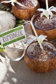 Rumdinger — Perfect for a tropical luau party. 2 Cups Pineapple Juice, 1 1/2 c mango nectar 1 c dark rum, 1/2 grenadine, 2c crushed ice. Serves 4