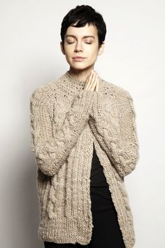 Super cute pixie cut. (And the hand knitted merino cable knit cardigan isn't bad either - via Etsy)