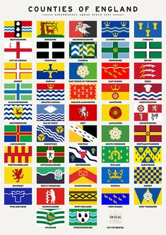 Counties of England by Zapista OU England Tattoo, County Flags, Thing 1, All Poster, Posters, Woodworking Wood, Coat Of Arms, Fine Art America, Fine Art Prints
