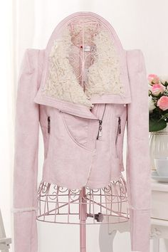 OASAP - Lamb Wool Trimmed Chamois Leather Jacket - Street Fashion Store