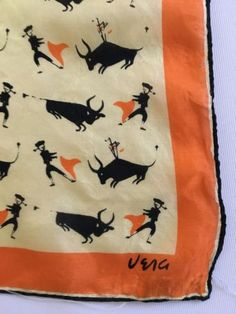 Rare-Vintage-Vera-from-the-Late-1940-039-s-Matadors-and-Bulls-Print-22-034-Silk-scarf
