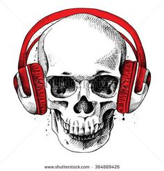Skull in a headphones. Vector illustration. - stock vector