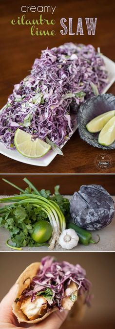 Try this on fish tacos. This Creamy Cilantro Lime Slaw combines fresh salad ingredients & a tangy dressing to make an outstanding side dish or your favorite fish taco topper. Slaw Recipes, Mexican Food Recipes, Healthy Recipes, Tilapia Recipes, Red Cabbage Recipes, Salmon Recipes, Fish Recipes, Slaw For Fish Tacos, Fish Taco Cabbage Slaw
