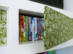 The Built-In Bookcase: Intentional Style | Rather Square -- use foam core and fabric to make simple doors in a bookshelf to cover DVDs!