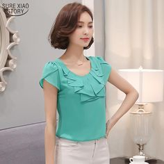 Gender: Women - Brand Name: SURE XIAO STORY - Pattern Type: Solid - Collar: O-Neck - Sleeve Length(cm): Short - Style: Casual - Sleeve Style: Butterfly Sleeve - Material: Spandex,Polyester - Fabric Type: Chiffon - Decoration: Ruffles - Clothing Length: Regular - No.: 861C - size: S M L XL 2XL 3XL