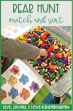 Toddler color sorting and matching activity! Counting bear activity for toddlers and preschools to practice sorting and matching! Bear Activities Preschool, Bear Theme Preschool, Preschool Colors, Preschool Centers, Toddler Learning Activities, Preschool Themes, Preschool Lessons, Preschool Activities, Color Activities For Preschoolers