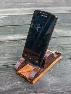 phone stand wood by sukceno on Etsy, $14.00