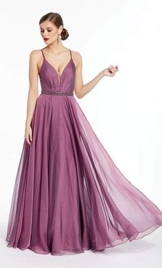 Emanate a sophisticated vibe as you don this stunning Alyce Paris 1383 evening dress. A plunging V neckline with sheer inset detail at the bust bisects the sleeveless bodice supported with spaghetti straps which lead to the bandeau strappy open back. This iridescent chiffon gown showcases a beaded waistband which leads to the pleated a-line skirt that falls to the floor, finished with a small train. Catch attention from the crowd as you walk with elegance with this Alyce Paris creation. Tulle Ball Gown, Chiffon Gown, Wearing Purple, Prom Dress Stores, Designer Prom Dresses, Formal Gowns, Formal Wear, Dress Formal, Dresses For Teens