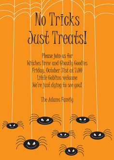 Spooky Spiders Halloween Invitations