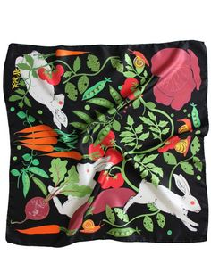 Rabbits in the Allotment Silk Twill Scarf | Karen Mabon