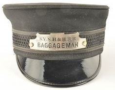 Baggageman Cap from the New York New Haven and Hartford Railroad with enameled hat badge. Can is in good condition with minimal signs of use. No manufacturer's marks. size: unmarked